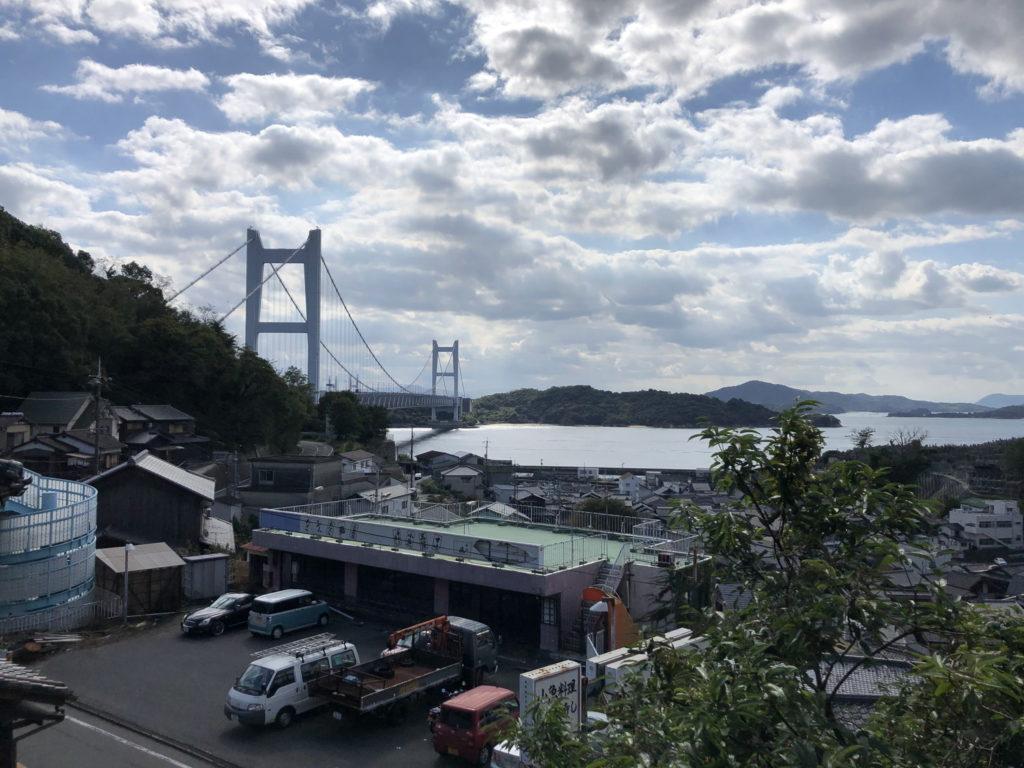 下津井電鉄廃線跡風の道鷲羽山駅からの瀬戸大橋の眺め