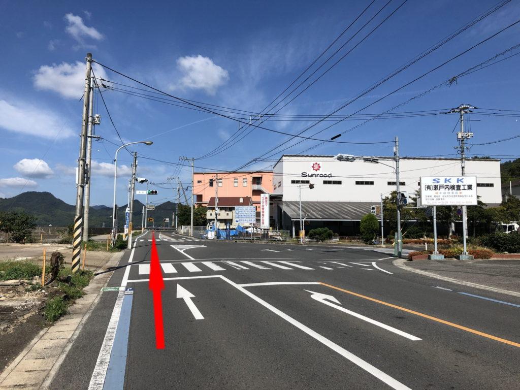 しまなみ海道サイクリング激坂回避裏コース分岐点3(因島)